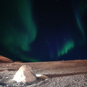 The Northern Lights and a Igloo at Sylvia Grinnell Park