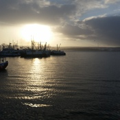 Sun breaking thru on the Digby wharf