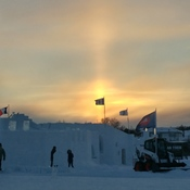 Sunset at Snow King's Ice castle