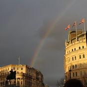 Rainbow in Trafalgar Square