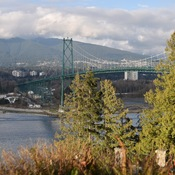 View of the Lions Gate Bridge from Stanley Park lookout, Vancouver BC Canada