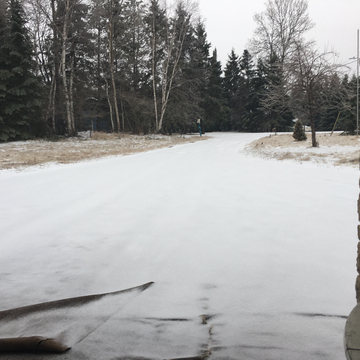 2 inches of ice covering the driveway