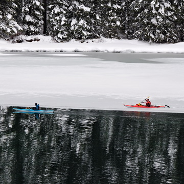 Icebreaker on Two Jack Lake