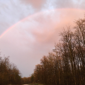 After the thunderstorm, rainbow to the east