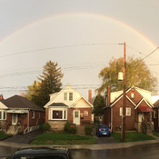 Rainbow from Thursday evening. Thunderstorms in Hamilton