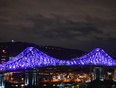 Illuminated Jacques cartier bridge for 375th anniversary of Montreal