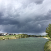 Bow river dark clouds