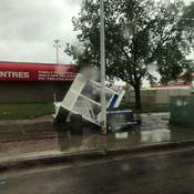 busstop after damaging winds