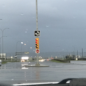 Left turning intersection Lights turned due to high wind