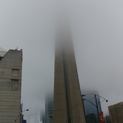 CN tower hidden by clouds