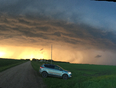 Beautiful shelf cloud at sunset  - Portage La Prairie, MB, CA