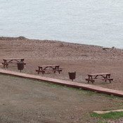Beach area with picnic tables