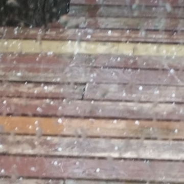 Hail coming down on deck