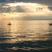 Kayakers under setting sun.