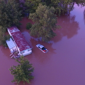 Harriston Flood, submerged truck