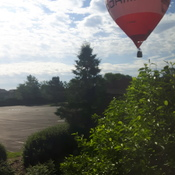 hot air balloon casually landing in my backyard