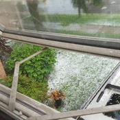 Hail falling in London On
