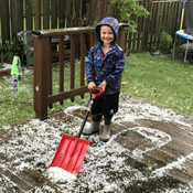 Owen doing some post hail clean up