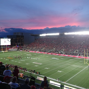 dusk colours over the RedBlacks game.