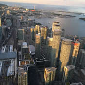 View from CN tower at sunset looking towards the east
