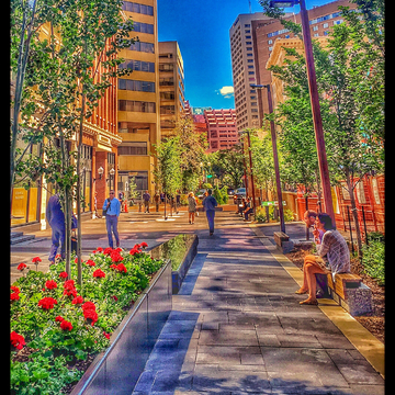 Super pretty in downtown Edmonton; everyone is out, enjoying the weather !