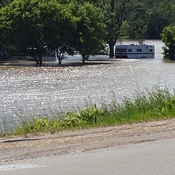Trailers flooded out on Grand River in Calidonia