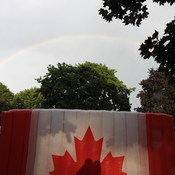 Rainbow over Canadian Flag