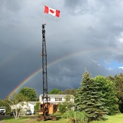 Beautiful double rainbow as we get Crane #1 ready for Canada Day.