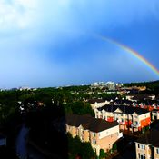 Super zoom on a gorgeous rainbow over Ottawa after an ugly storm