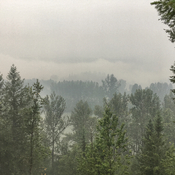 Heavy smoke over the Quesnel River under Green Mountain