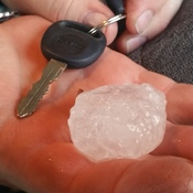 Large hail in Wetaskiwin