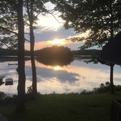 beautiful sunset at the cabin