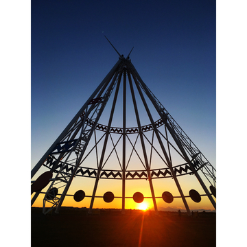 Worlds largest teepee at sunset