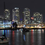 city sky line at night downtown Vancouver BC