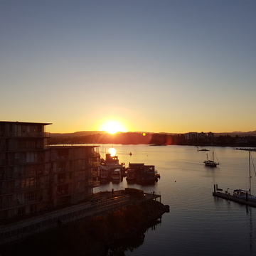 sunset over the harbour