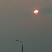 sun covered by smoke