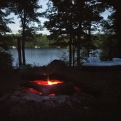 Dusk, Lake and a Fire