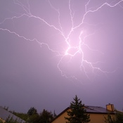 Lightning over St Albert during a summer storm