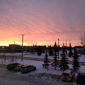 Winter at Sunrise at 8:30AM in Edmonton, Alberta, Canada