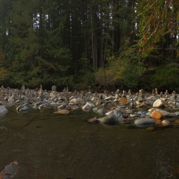 Panoramic photo of markers in the Browns River