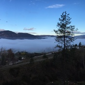 Low fog over Okanagan Lake Penticton BC
