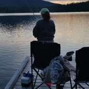 Relaxing in the sunset of The Lake of the Woods.