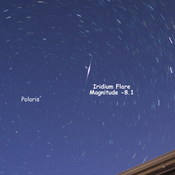 Bright Iridium Flare near Polaris [the North/Pole Star]