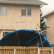Wind Causes 2 Trampolines to Collide