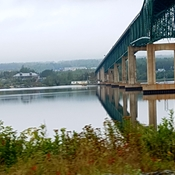 miramichi river and bridge reflection