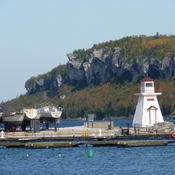 Lion's Head Lighthouse October 22, 2017, 25C and the inner harbour.