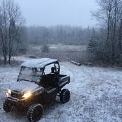 Hunting camp snowfall