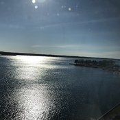 Sun glowing on the St Lawrence River