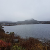 Fog lifting over George Cove Mountain