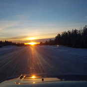 Sunset on the Alaska highway